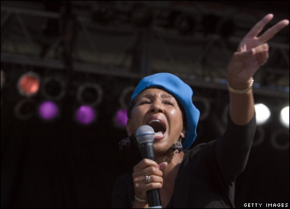 Gloria White-Hammond, of Million Voices for Darfur, in New York's Central Park