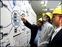 Iranian leaders tour the nuclear facility at Busherh