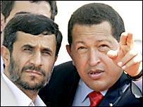 Los presidentes de Irán, Mahmoud Ahmadinejad, y de Venezuela, Hugo Chávez