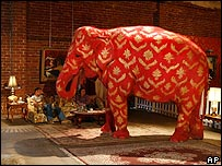 The painted elephant at the exhibition