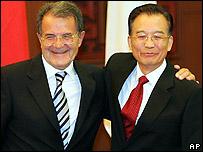 Romano Prodi and Wen Jiabao