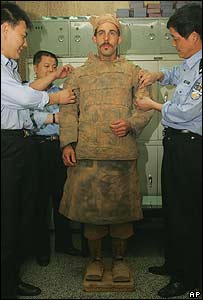 German art student Pablo Wendel posing as a Terracotta Warrior