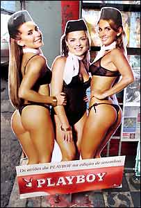 Ad for edition of Playboy magazine featuring flight attendants from Brazil's troubled Varig airline