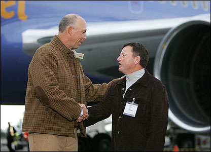 America's captain Tom Lehman is greeted by Europe's captain Ian Woosnam