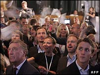 Celebrations as Fredrik Reinfeldt wins the Swedish elections
