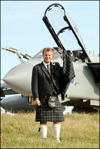 Colin McGregor with tartan and Tornado (Pic: Donald Stewart)
