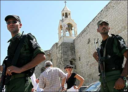 Security guards outside the Church of the Nativity in Basra