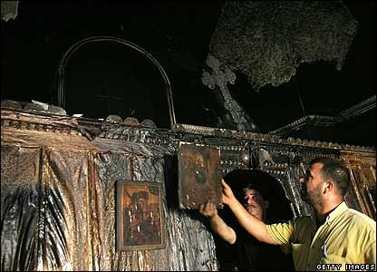 Burned Catholic church in Tulkarm in the West Bank