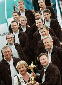 The European team are joined by Woosnam's wife Glendryth as they leave the plane in Dublin