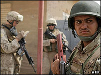US and Iraqi soldiers on patrol in Ramadi