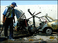 The remains of a car bomb in Iraq
