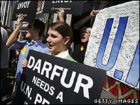 Protesters demand action on Darfur near the United Nations