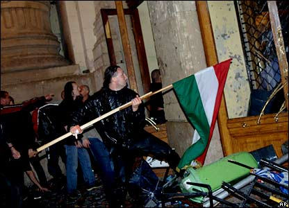 Demonstrators storm the headquarters of Hungarian State Television