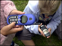 Children on mobile phones