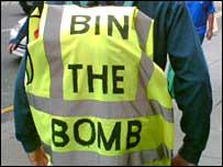 Bin the Bomb protester