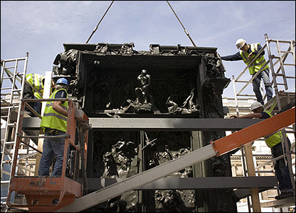 The installation of The Gates of Hell at the Royal Academy of Art � David Purdie