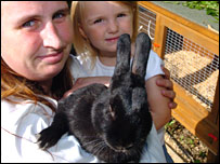 McCook family and rabbit
