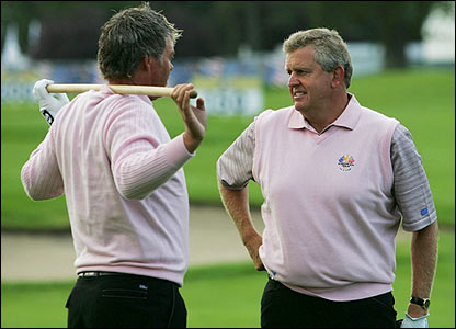 Darren Clarke and Colin Montgomerie chat ahead of practice