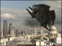 A spaceship crashes into the Thames in an episode of Doctor Who