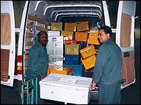 Crates in a minivan