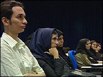 Single man in a class room, Azad University