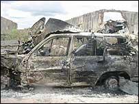 President Yusuf's burnt-out car