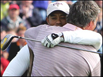 Tiger Woods and Darren Clarke