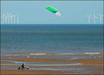 Different ways of harnessing the wind, captured by Kelvin Hughes, at Central Beach Prestatyn