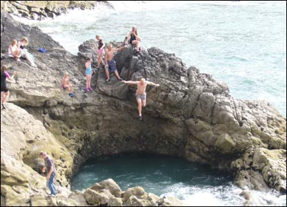 Mandy Hancock snapped this shot of her husband jumping into Blue pool on the Gower Peninsula