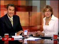 Dermot and Kate play back the first Breakfast Takeaway on their MP4 players