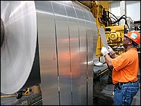 Rolling aluminium at an Alcoa plant in the US