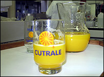 Glass of orange juice at Cutrale's factory in Araraquara
