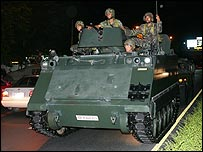 A tank on the streets of Bangkok amid reports of a coup
