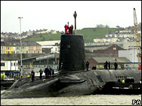 Vanguard Trident submarine at Devonport