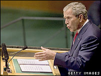 George W Bush addressing the UN General Assembly 19 September 2006