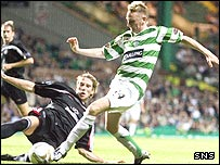 Celtic's Derek Riordan in action against St Mirren