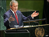 George W. Bush habla ante la Asamblea General de la ONU