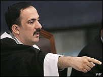 Judge Muhammad al-Ureibi orders Saddam Hussein out of court