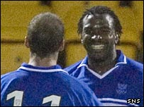 Jason Scotland celebrates his goal against Dundee United