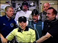 Anousheh Ansari and the Expedition 11 crew on the space station   Image: Nasa TV
