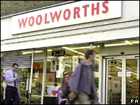 People passing Woolworths store