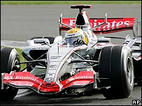 Lewis Hamilton in McLaren's Formula One car at Silverstone