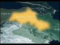 A map depicting the Kurdish areas between Turkey, Iraq and Iran