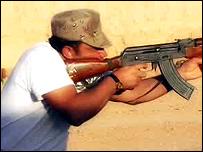 A Kurdish soldier in training