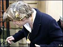 "Ruth Kelly getting ""egged"""