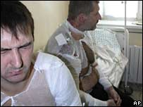 Injured miners receive medical treatment in a hospital in Donetsk on 20 September