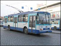 A trolleybus in Vilnius