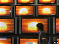 Wall of screens at IFA show, AFP/Getty