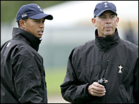 Tiger Woods and Tom Lehman