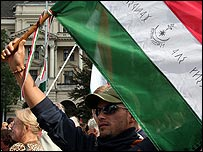 Protester holding flag in Budapest